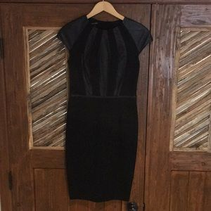 Black Escada dress size 36 with leather trim